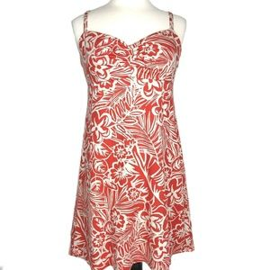 Tommy Bahama Floral Aline Dress Orange Ivory Large